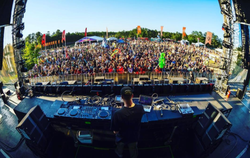Playing at a festival