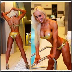 Sara Piana's body (in a gold bikini)
