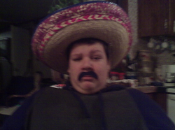 Jacob Scott Goodwin wears a sombrero and fake mustache some time when he was a young teenager.