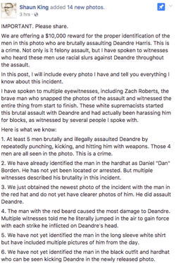 Shaun King post on his Facebook about the $10k offer for the identity of the attackers, including Jacob Scott Goodwin.