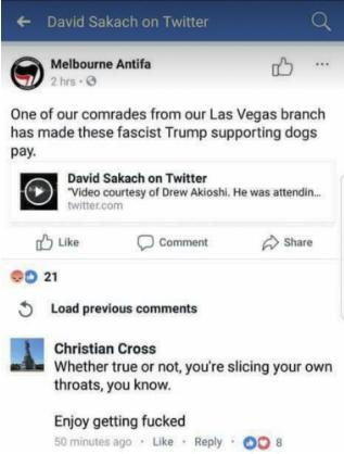 MelbourneAntifa claim Paddock.