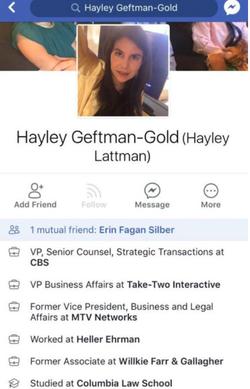 Her Facebook profile.
