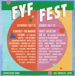 FYF Fest                              ​ flyer for the 2018 festival that features                               Cuco                              as one of the artists.
