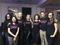 The CryptoChicks Team (from left to right): Liza Horowitz, Minna Liang, Nataliya Hearn, Elena Sinelnikova, Natalia Ameline, Konstantin Borovik, Olga Plokhuta