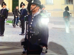 Suchet parading for the Spanish king in front of the Norwegian royal castle in April 2006
