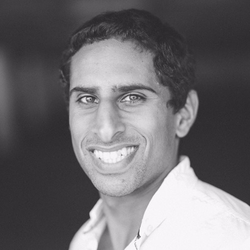 A black and white picture of Kedar Iyer