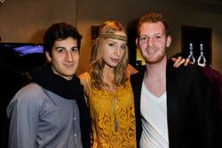 Seigal (left) with fashion model Rebecca Kahkeida and Bryan Baum at a V.A.U.L.T. Art Basel Party on December 2, 2011 in Miami Beach