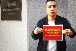 Pham in front of Wells Fargo Headquarters