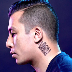 Kevin Pham with a Send Bitcoin neck tattoo