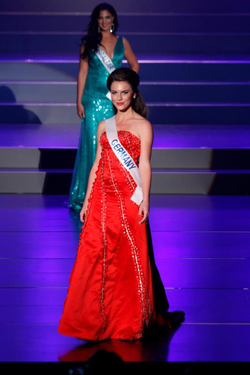 Aline Marie Massel at the                               Miss International 2012                              ​ pageant after winning the                               Miss International Germany                              pageant