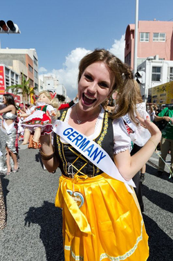 Aline Marie Massel wearing traditional German clothes after winning the                               Miss International Germany                              pageant