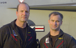 Photo of David Fravor with Lt. Cmdr. Jim Slaight.