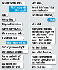 Jo Marney's racist texts