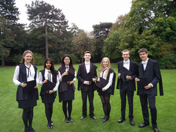 Photo of Oliver Mears with fellow                               St Hugh's College                              Chemistry students