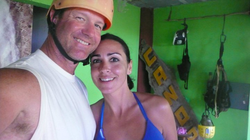 Sara and Marty at a zip line course
