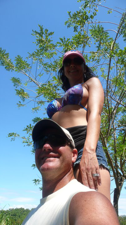 Photo of Sara Carter and her husband Marty in                               Costa Rica                              