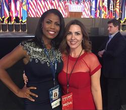 Sara Carter and Omarosa Manigault at a Donald Trump election party. [41]