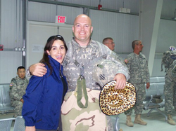 Sara Carter celebrating her birthday with                               United States Armed Forces                               on base in                               Baghdad, Iraq                              