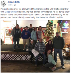 Facebook​ post by J-Mack BBQ about Gage Smock's condition
