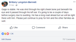 Facebook​ post about Gage's condition by his cousin, Brittany Bennett
