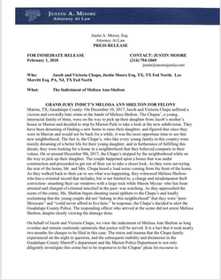 Press release by Justin Moore the lawyer representing the alleged victims Jason and Victoria Chapa (page 1).