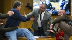 Randall Margraves charging towards Larry Nassar