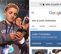 Meme                              ​ joking that Ryan Mckenna stopped to use his phone to look up who                               Justin Timberlake                              was.
