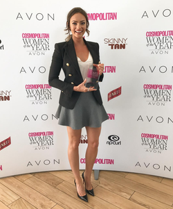 Emily Skye at an event where she was given an award.