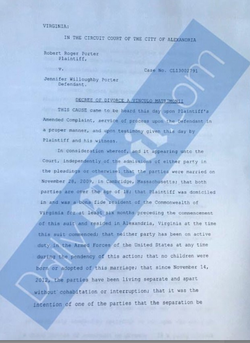 Document of the protective order that she filed against Rob Porterthat she has shared with Daily Mail.