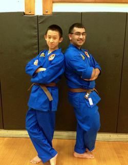 Photo ofNikhilesh De with his Martial Arts partner.