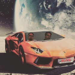 Illustration of Joel Comm and Travis Wright inside of a Lamborghini on the way to the moon.