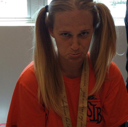 Melissa Bonkoski wearing her hair in                                   pigtails                                                                                                            [8]                                                                       