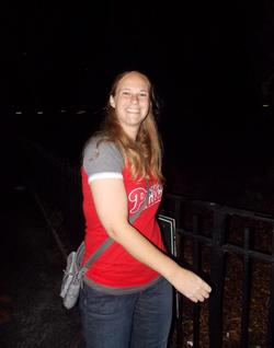 Melissa Bonkoski wearing a                               Philadelphia Phillies                               shirt                                                                  [8]                                                               