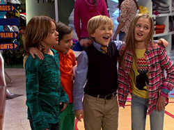 Mace Coronel (left) with                               Aidan Gallagher                              ​,                               Casey Simpson                              ​, and                               Lizzy Greene                              ​