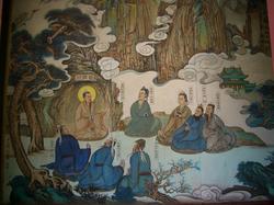 Wang Chongyang, founder of the Quanzhen School, depicted in Changchun Temple,                                 Wuhan