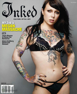 Megan Massacre on the cover of                                                Inked Magazine                                                  (August 2011 issue)