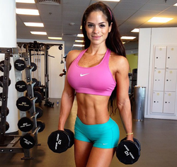 Michelle lifting weights[17]