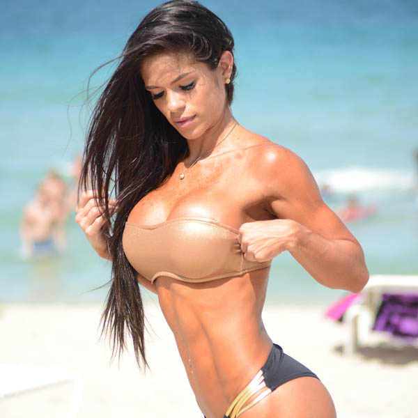 Photo of Michelle Lewin in a nude bikini