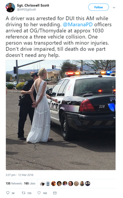 Screenshot of the tweet by Sgt. Chriswell Scott of the Marana Police about the incident