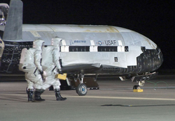 The X-37B, which does classified missions in orbit for 100s of days at a time