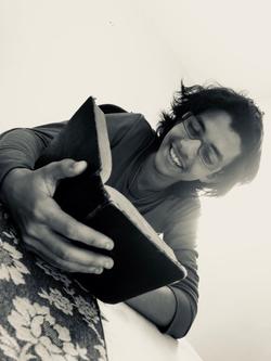 Emil Cerda reading the Bible. Photo taken by his friend Juan Miguel Peña.