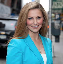 Lauren Blanchard dressed in blue