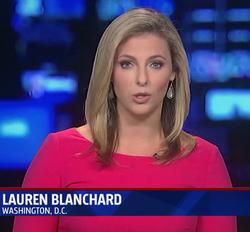 Lauren Blanchard reporting on air