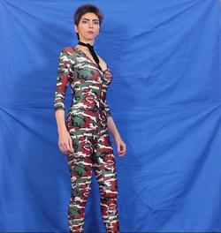 Nasim Aghdam wearing camouflage
