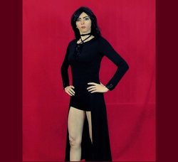 Photo Nasim Aghdam wearing a black dress, she posted on her Telegram.org channel [14]