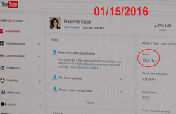 Screenshot of Nasim Aghdam's video from January 2016, showing that her videos were not being shown as often in October 2016