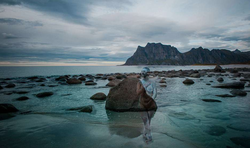 Bodypaint by                               Vilija Vitkute                              in Lofoten Uttaveik- Haukland beach. The Model is Cleo Stenger.