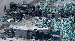 Image of the Bus and the Truck from the collision that took the lives of 14 people including                               Darcy Haugen.