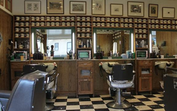 The barbershop where Adrian Wood works.