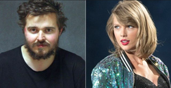 Bruce Rowley mugshot next to a photo of Taylor Swift​.